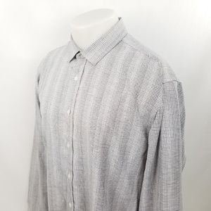 Vince Camuto Mens Button Front Shirt XL L/S Gray